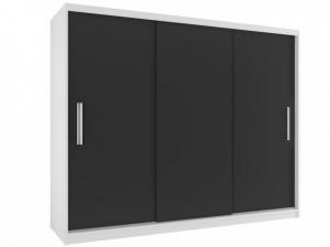 Bielo-čierna skriňa Remy 235 cm