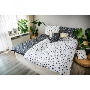 Bielo-čierne bavlnené obliečky Cotton House Double Dots, 140 x 200 cm