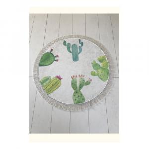 Bielo-zelená kúpeľňová predložka Tropica Cactus I, ⌀ 100 cm
