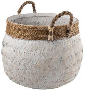 Biely bambusový košík s ušami Canasta - Ø 58 * 43 cm