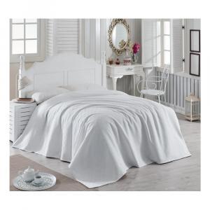 Biely bavlnený pléd cez posteľ Magnona, 200×240 cm
