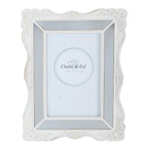 Biely fotorámček s patinou a zrkadlami - 17 * 2 * 22 cm / 10 * 15 cm