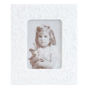 Biely fotorámček s reliéfom - 22 * 1 * 27 cm / 11 * 16 cm