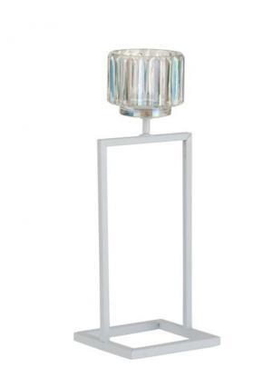 Biely kovový svietnik na 1 sviečku Glass - 12*11*31 cm