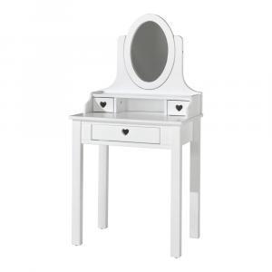 Biely toaletný stolík Vipack Amori, výška 136 cm