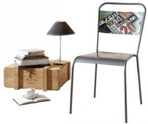 INDUSTRY Jedálenská stolička kovová, staré drevo