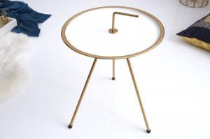Bighome - Príručný stolík CLEVO 36 cm - biela, zlatá