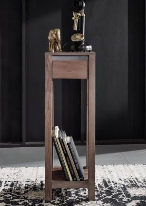 Bighome - ROUND Príručný stolík 30x30x90 cm, dymová, palisander