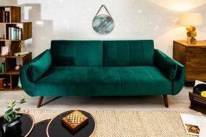 Bighome - Rozkladacia sedačka DIVAN 215 cm - zelená
