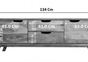 SKANE Komoda 134x90 cm, palisander, hnedá