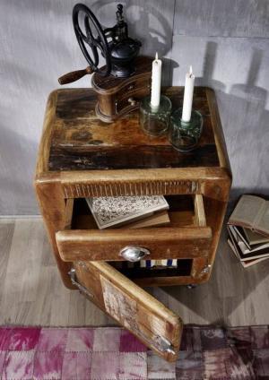 TESORI Kontajner na kolieskach so skrinkou - otváranie vľavo 70x55 cm, staré drevo