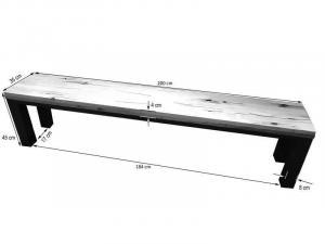 TIROL Lavica 200x35 cm, tmavohnedá, dub