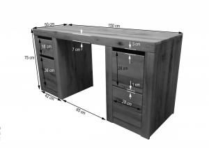 Bighome - VEVEY Písací stôl 150x50 cm, svetlohnedá, dub