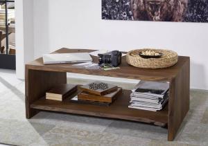 WOODLAND Konferenčný stolík s poličkou 120x70 cm - tmavohnedá, akácia