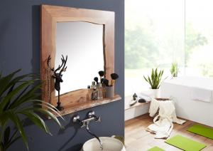Bighome - WOODLAND Kúpeľňové zrkadlo 70x78 cm, prírodná, akácia