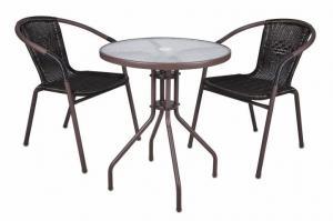Bistro stolík so sklenenou doskou a 2 stoličky z polyratanu