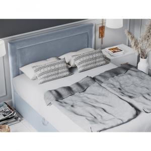 Bledomodrá zamatová dvojlôžková posteľ Mazzini Beds Yucca,180x200cm