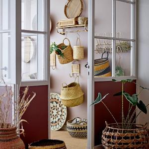 Bloomingville Rákosový vešiak Cane Nature - set 2 ks