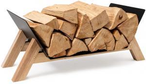 Blumfeldt Langdon Wood Black, stojan na drevo, 68 × 38 × 34 cm, železo a drevo