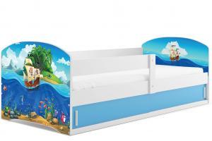 BMS Detská obrázková posteľ LUKI 1 / BIELA Obrázok: Piráti