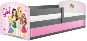 BMS Detská obrázková posteľ LUKI 1 /SIVÁ Obrázok: Girls