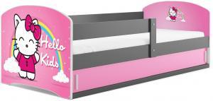 BMS Detská obrázková posteľ LUKI 1 /SIVÁ Obrázok: Hello Kids