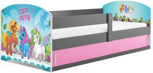 BMS Detská obrázková posteľ LUKI 1 /SIVÁ Obrázok: Pony