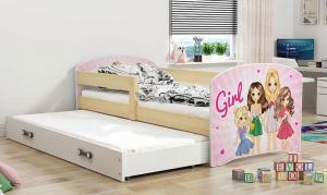 BMS Detská obrázková posteľ Luki 2 s prístelkou / borovica Obrázok: Piráti