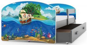 BMS Detská obrázková posteľ Luki / sivá Obrázok: Auto