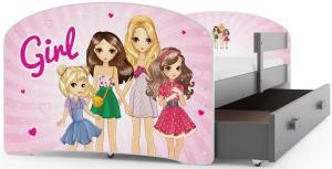 BMS Detská obrázková posteľ Luki / sivá Obrázok: Girls