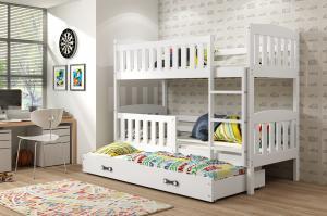 BMS Detská poschodová posteľ KUBUŠ 3 s prístelkou / biela Farba: Biela / biela, Rozmer.: 190 x 80 cm