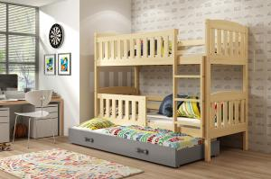 BMS Detská poschodová posteľ KUBUŠ 3 s prístelkou / borovica Farba: Borovica / sivá, Rozmer.: 190 x 80 cm