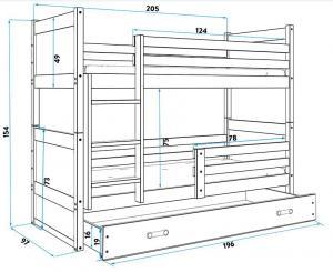BMS Detská poschodová posteľ RICO / BIELA 200x90 Farba: Sivá - do vypredania zásob