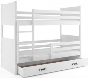 BMS Detská poschodová posteľ RICO / BIELA 200x90 Farba: Zelená - do vypredania zásob
