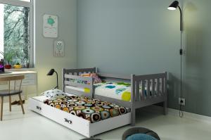 BMS Detská posteľ Carino 2 s prístelkou Farba: Sivá / Modrá