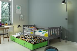 BMS Detská posteľ Carino 2 s prístelkou Farba: Sivá / zelená