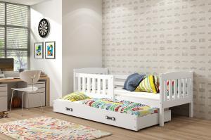 BMS Detská posteľ Kubuš 2 s prístelkou / biela Farba: biela / sivá, Rozmer.: 190 x 80 cm