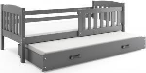 BMS Detská posteľ Kubuš 2 s prístelkou / sivá Farba: Sivá / biela, Rozmer.: 200 x 90 cm