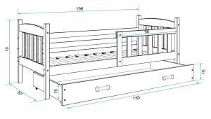 BMS Detská posteľ Kubuš 1 s úložným priestorom / biela Farba: biela / sivá, Rozmer.: 190 x 80 cm