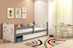 BMS Detská posteľ Mikolaj 1 / SIVÁ 160x80 Farba: Sivá / zelená
