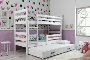 BMS group Detská poschodová posteľ Eryk 3 FARBA: Biela, ROZMER: 80 x 190 cm, DOPLNKOVÁ FARBA: Ružová