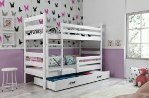 BMS group Detská poschodová posteľ Eryk FARBA: Biela, ROZMER: 80 x 160 cm, DOPLNKOVÁ FARBA: Modrá
