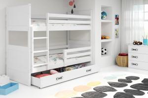BMS group Detská poschodová posteľ RICO, 160 FARBA KONŠTRUKCIE: Biela, DOPLNKOVÁ FARBA: Ružová