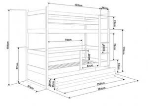 BMS group Detská poschodová posteľ RICO3 160, trojlôžko FARBA KONŠTRUKCIE: Borovica, DOPLNKOVÁ FARBA: Modrá