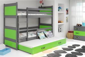 BMS group Detská poschodová posteľ RICO3 160, trojlôžko FARBA KONŠTRUKCIE: Grafit, DOPLNKOVÁ FARBA: Modrá