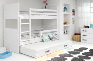 BMS group Detská poschodová posteľ RICO3 190, trojlôžko FARBA KONŠTRUKCIE: Borovica, DOPLNKOVÁ FARBA: Modrá