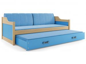 BMS group Detská posteľ Dawid FARBA: Borovica, ROZMER: 80 x 190 cm, DOPLNKOVÁ FARBA: Modrá