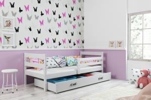 BMS group Detská posteľ Eryk FARBA: Biela, ROZMER: 90 x 200 cm, DOPLNKOVÁ FARBA: Zelená