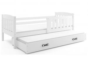 BMS group Detská posteľ KUBUŠ 2 s prístelkou, 200 FARBA: Borovica, DOPLNKOVÁ FARBA: Ružová