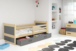 BMS group Detská posteľ RICO1 /190 FARBA KONŠTRUKCIE: Grafit, DOPLNKOVÁ FARBA: Sivá